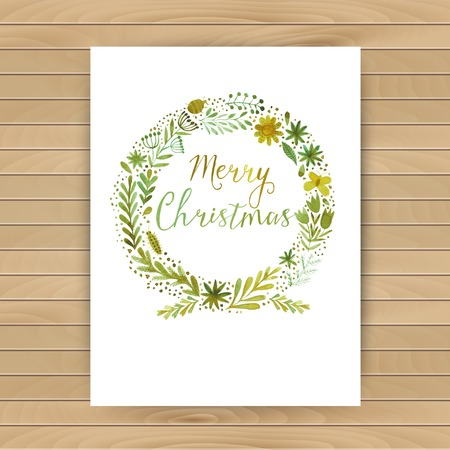 4 door: Vector watercolor colorful circular floral wreaths with summer flowers and central white copyspace for your text. Vector handdrawn sketch of wreath with flowers. Merry Christmas design