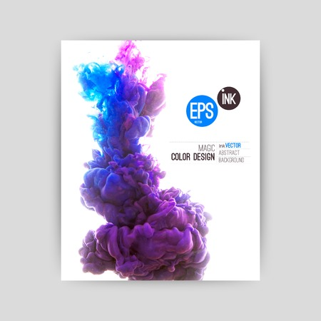 Vector abstract cloud. Ink swirling in water, cloud of ink in water isolated on white. Abstract banner paints. Holi. Vettoriali