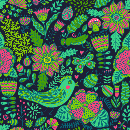 girlie: Seamless texture with flowers, birds and butterflies. Can be used for wallpaper, pattern fills, web page background, surface textures. Vector blooming doodle texture. Decoration with detailed flower.