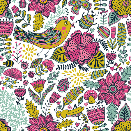 web background pattern: Seamless texture with flowers, birds and butterflies. Can be used for wallpaper, pattern fills, web page background, surface textures. Vector blooming doodle texture. Decoration with detailed flower.