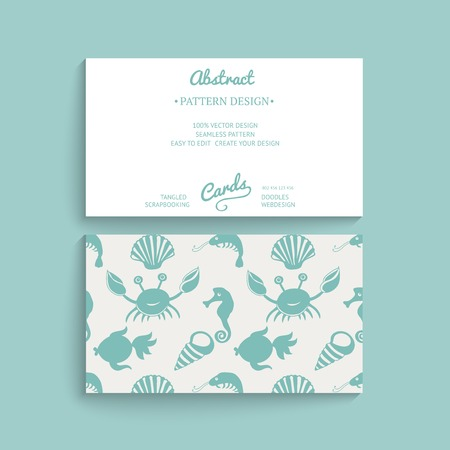 Vector card design. Vector business card template with decorative ornament, original design, floral decoration, seamless pattern is masked and complete. Design your own card, corporate identity Vector