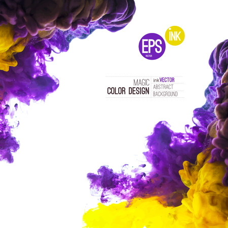 Vector Ink swirling in water, cloud of ink in water isolated on white. Abstract banner paints. Holi. Liquid cloud. Purple background for banner, card, poster, label or web design. Abstract corner.