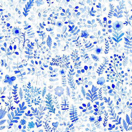 水彩花柄, 花とテクスチャ。花柄。元の花の背景。青い花パターン。シームレスなテクスチャです。花の水彩画。飾り。絵画