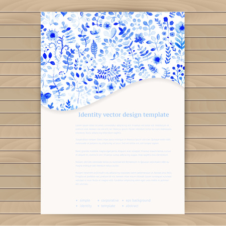 White and blue flower ornament.Vector gzhel. Vector watercolor texture with flowers. Floral pattern. Original floral background. Pattern is complete. Seamless texture. Business card template Vector