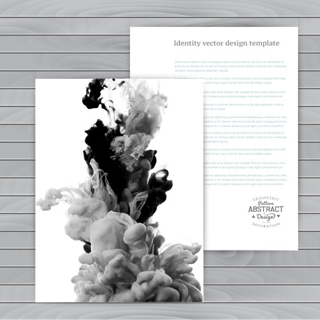 Vector abstract cloud. Ink swirling in water, cloud of ink in water isolated on white. Abstract banner paints. Holi. Black and white. Wood Banco de Imagens - 32745883
