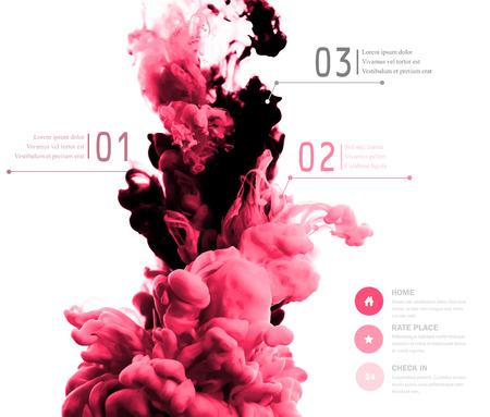 ベクトルの抽象的な雲です。インク水、白で隔離される水でインクの雲で渦巻きます。抽象的なバナーを描画します。あなたのデザインの Holi.Banner