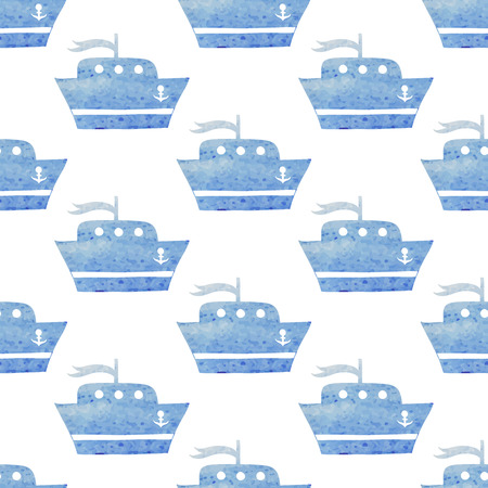 Kids seamless vector watercolor pattern with ships, boats on white Vector