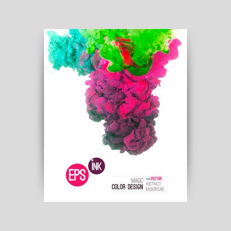 Vector abstract cloud. Vorticoso Inchiostro in acqua, nuvola di inchiostro in acqua isolato su bianco. Vernici astratto banner. Holi. Archivio Fotografico - 32745976