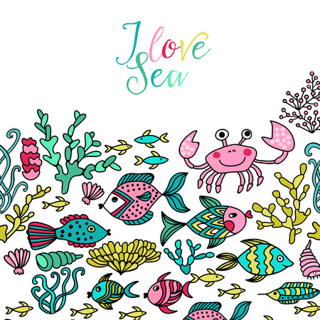 Cartoon set with sea live, vector set. Colorful sea animals, sea world under water world wallpaper with fish, octopus and vegetation Vector
