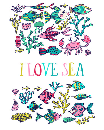 Greeting card. Cartoon set with sea live, vector set. Colorful sea animals, sea world seamless pattern, under water world wallpaper with fish, octopus and vegetation Vector