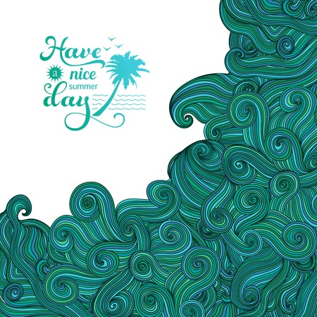 tsunami wave: Vector background with wave ornament. Big wave, tsunami, summer logo. Colorful abstract hand-drawn design, waves background Illustration