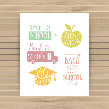 Back to school colorful doodle lettering signs: bus, apple, pencil. Back to school logo. Greeting card. School cartoon hand lettering Vector