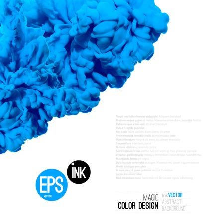 벡터 추상 구름. 물에 파란색 잉크 소용돌이, 흰색 격리 된 물에서 잉크의 구름.