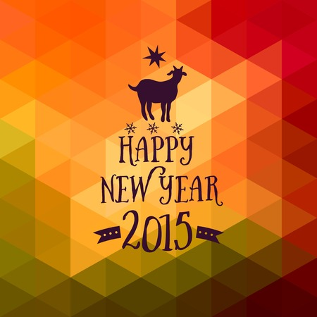 Happy New Year and Merry Christmas design, geometric backdrop. typography composition with lettering. Goat silhouette 2015 Vector