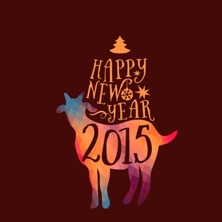 Symbol of the 2015 year, greeting card with goat. Vector watercolor background. Greeting card 2015. Happy New Year 2015. Illustration