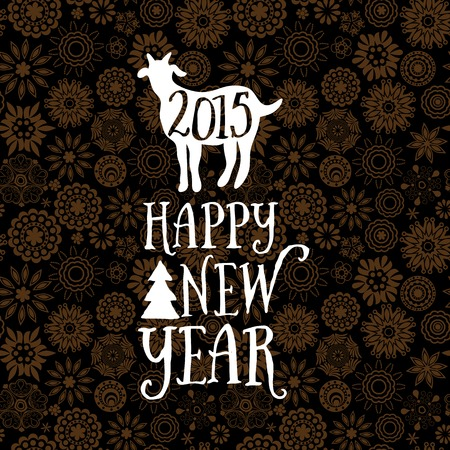 Happy New Year design, geometric backdrop. typography composition with lettering. Goat silhouette 2015. Flower pattern. Vector
