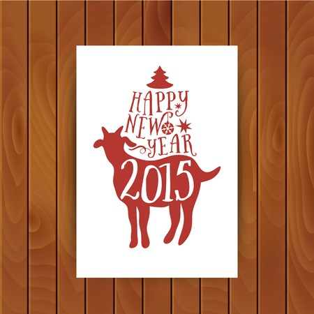 christmas card with goat Vector