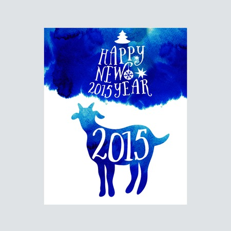 Symbol of the 2015 year, greeting card with goat. Vector watercolor background. Greeting card 2015. Happy New Year 2015 Vector