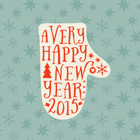 Vector mitten silhouette design card, Merry Christmas and Happy New Year lettering, typography composition. Greeting card on wood background, winter theme illustration. Wishes, 2015 Vector