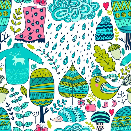 Vector seamless pattern, doodling autumn design. Hand draw trees and leafs over the city. Season of the rain, illustration, cute background. Color doodle background Vektorové ilustrace