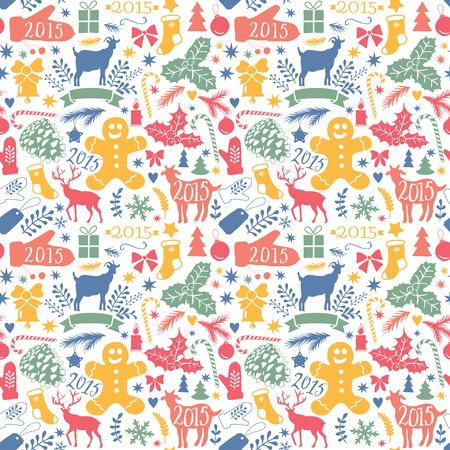 christmas seamless pattern: Merry Christmas seamless pattern, Happy New Year background, wrapping paper texture, silhouette.Classic elements Christmas pattern winter background. Holidays icon