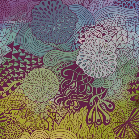Vector doodling  background. Wave hand-drawn layout, waves background Vector