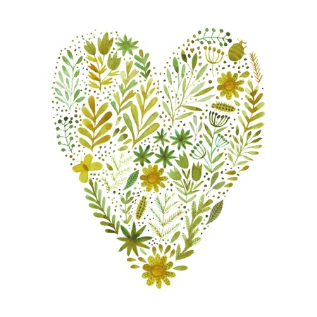 Vector heart made of watercolor flowers. Ecology emblem. Love icon. Vector