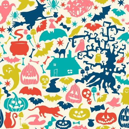 Vector Happy Halloween collection,classic bundle icons, doodles element for Halloween design. Set of Halloween silhouettes on triangles background. Vector
