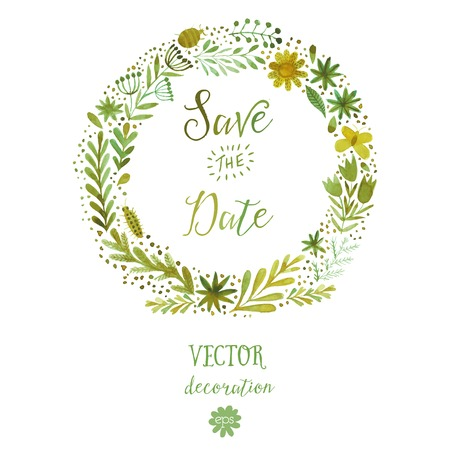 Vector watercolor colorful circular floral wreaths with summer flowers and central white copyspace for your text. Vector handdrawn sketch of wreath with flowers. Save the date Ilustrace