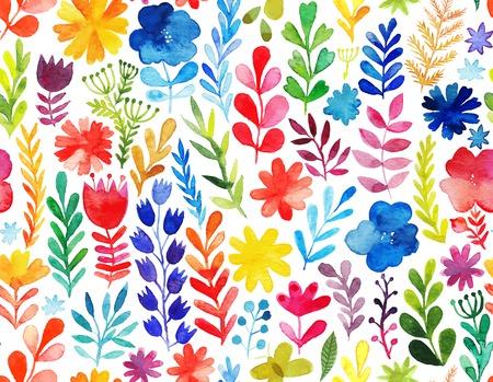 花と植物を持つベクトル パターン。花の装飾です。元の花のシームレスな背景  イラスト・ベクター素材