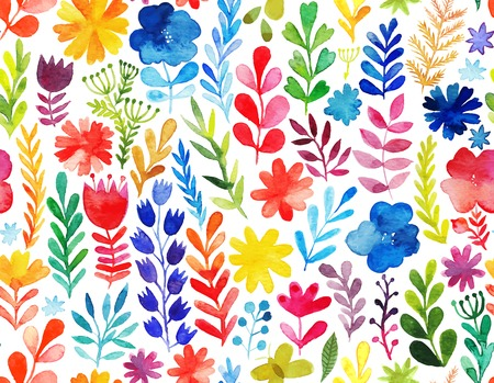 gardens: Vector pattern with flowers and plants. Floral decor. Original floral seamless background