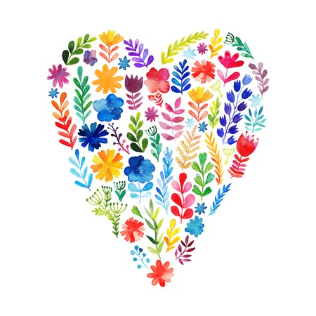 Vector heart made of watercolor flowers. Ecology emblem. Valentine's Day card. Heart icon.