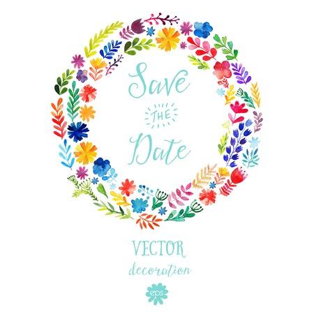 ベクトル水彩カラフルな円形花輪夏の花と、テキストの中央の白い copyspace。花と花輪のベクトルの手描きのスケッチ。日付を保存します。  イラスト・ベクター素材