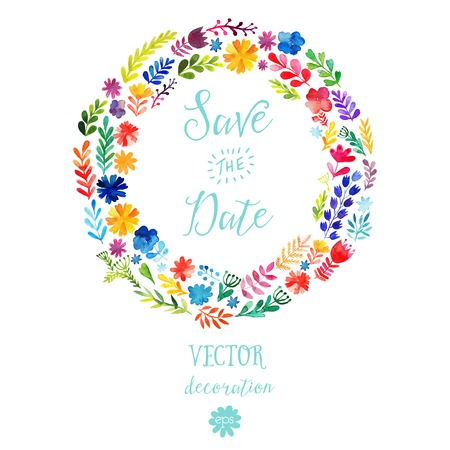 Vector watercolor colorful circular floral wreaths with summer flowers and central white copyspace for your text. Vector handdrawn sketch of wreath with flowers. Save the date Illustration