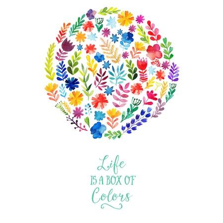 couleur: Conception vecteur aquarelle de cercle fait de fleurs. Décoration botanique, lettrage. Floral card avec copie espace Illustration