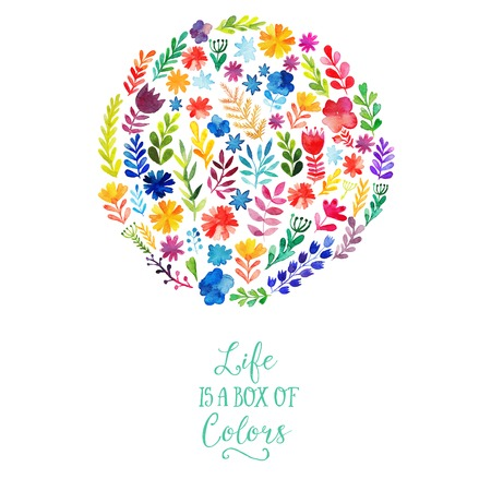 Vector watercolor circle design made of flowers. Botanical decoration, lettering. Floral card with copy space Ilustração