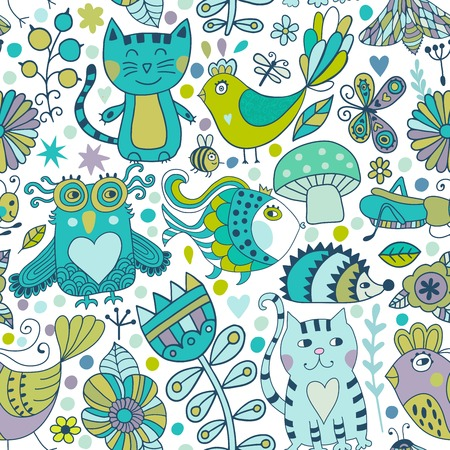 ornamental: Vector seamless pattern, doodling animals design. Hand draw Kids illustration, funny cartoon  in vector.