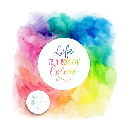 Vector colorful watercolor frame with copyspace for your text. Watercolor background with empty circle frame. Stock Illustratie
