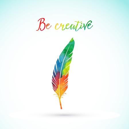 Vecteur aquarelle écrit plume. Colorful plume vecteur. Aquarelle silhouette de plumes Vecteurs