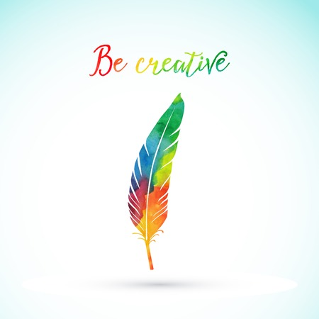 watercolor pen: Vector watercolor writing feather. Colorful vector feather. Watercolor silhouette of feather