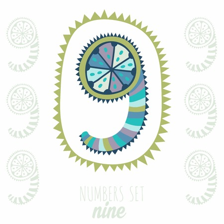 whimsy: Whimsical hand drawn number 9 nine. Hand-drawn numbers. Vector sketch illustration isolated on white background Illustration