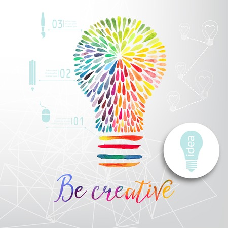 ink drop: Light bulb made of watercolor, lightbulb and creative icons, watercolor creative concept. Vector concept - creativity and idea. Lettering. quote. Creative light bulb