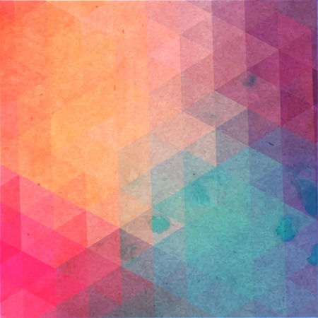 parallelepiped: Retro pattern of geometric shapes. Colorful mosaic backdrop. Geometric hipster retro background, place your text on the top of it. Retro triangle background Illustration