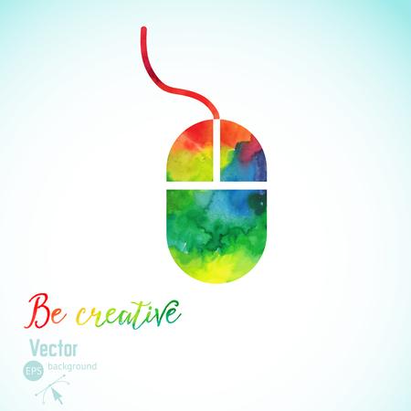 raton: Concepto de la creatividad con el ratón colorido. Artista en el trabajo. Símbolo del arte visual. Ilustración del vector. Silueta de la acuarela del ratón. Concepto de la creatividad con la pluma colorida. pintura ratón del ordenador. Vectores