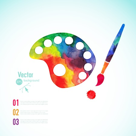 artists: Paint brush with palette icon vector,  art palette with eight colors, vector illustration, art palette with paints and brushe