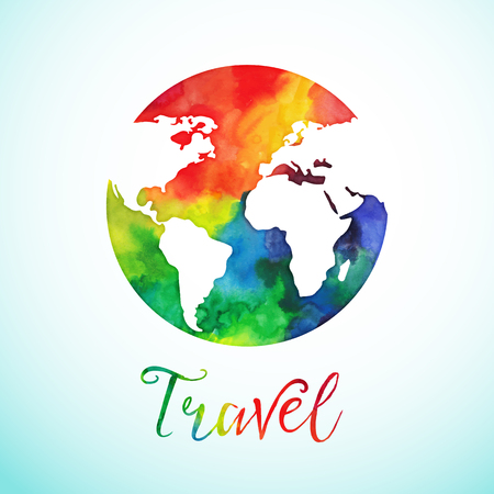earth globe: Vector watercolor globe sphere, map design. Travel background calligraphy badge.