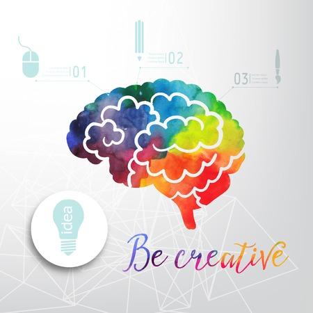 cerebro: Icono colorido del vector del cerebro, la bandera y el icono de la empresa. Acuarela concepto creativo. Concepto del vector - la creatividad y el cerebro. Letras. citar