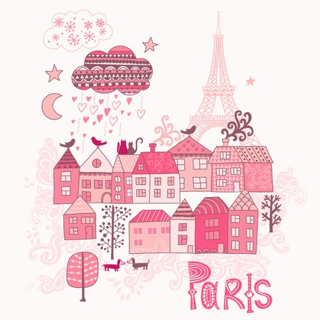 old town: Love in Paris doodles. Street in old town graphic illustration