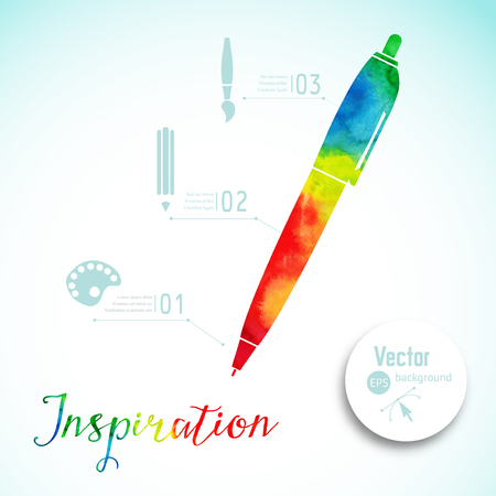 visual art: Artist at work. Ink pen, symbol of visual art vector illustration. Watercolor silhouette of pen. Creativity concept with colorful pen Illustration