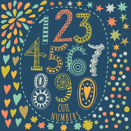 whimsy: Whimsical hand drawn numbers, from one to zero. Hand-drawn numbers. Vector sketch illustration isolated on white background Illustration